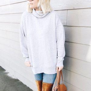 Aerie Cowl Neck Oversized Sweatshirt Grey Small